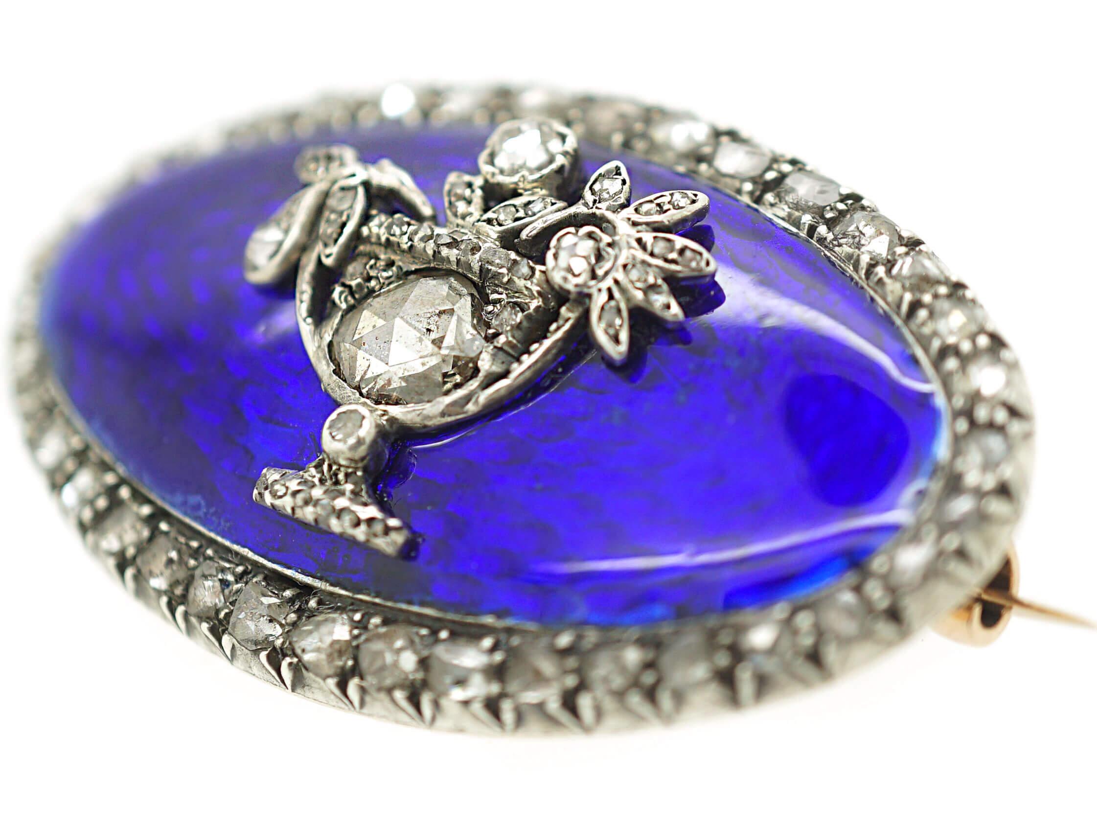 Georgian Rose Diamond & Blue Enamel Brooch