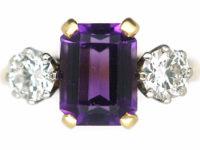 Art Deco 18ct Gold & Platinum, Rectangular Cut Amethyst & Diamond Three Stone Ring