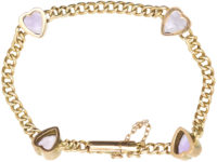 Edwardian 9ct Gold & Amethyst Hearts Bracelet