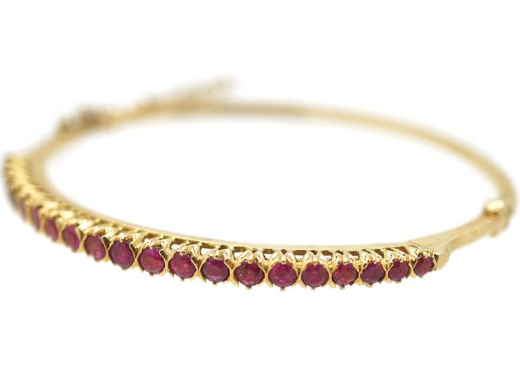 Art Deco Slim 18ct Gold & Ruby Bangle