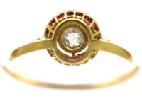 French Art Deco 18ct Gold, Ruby & Diamond Target Ring