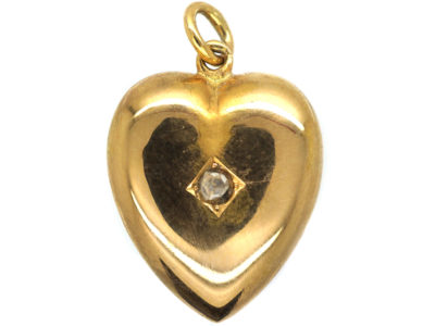 Edwardian 15ct Gold Heart Pendant set with a Rose Diamond