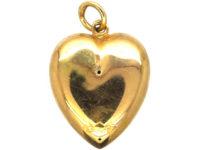 Edwardian 15ct Gold Heart Pendant set with a Rose Diamond
