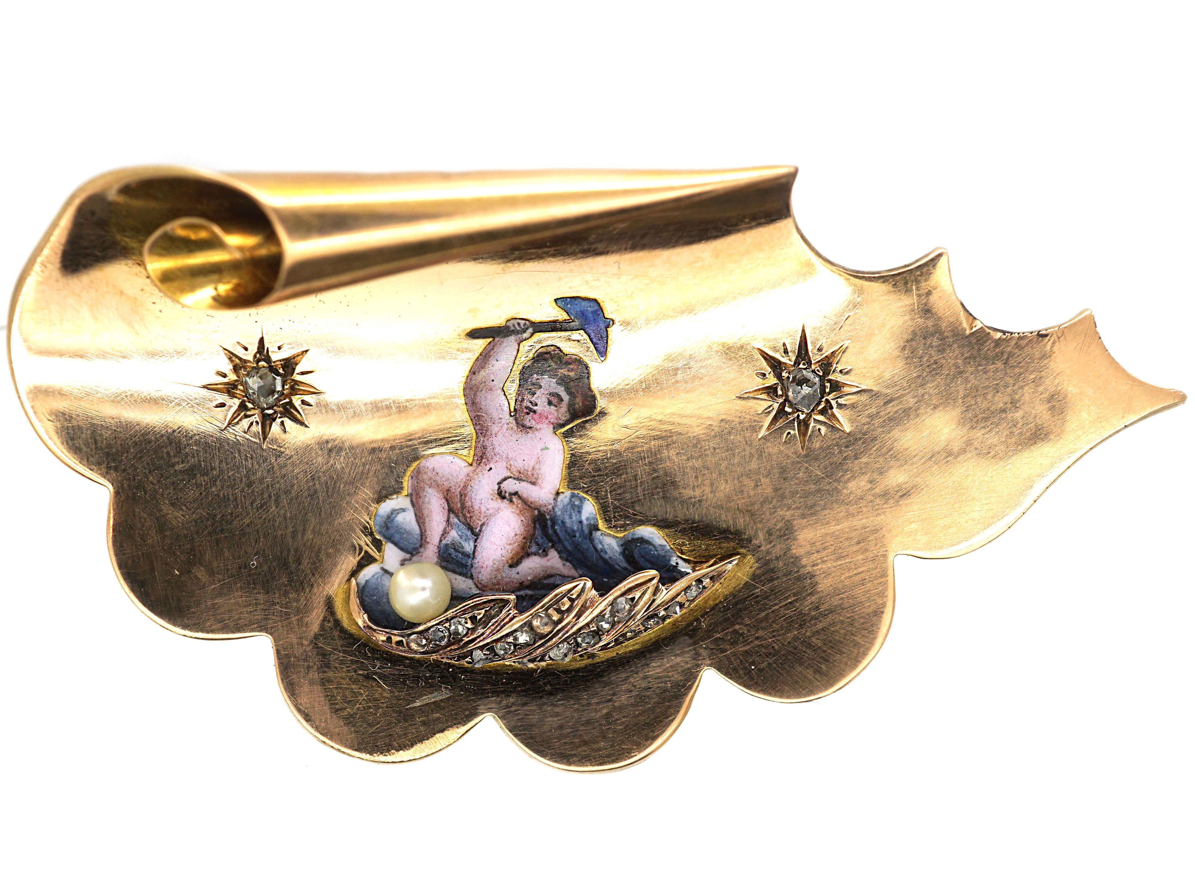 Victorian 18ct Gold Enamelled Cherub in Rose Diamond Set Coracle Brooch