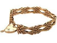 Edwardian 9ct Gold Gate Bracelet