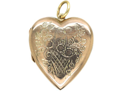Edwardian 9ct gold Heart Shaped Locket with Flower Basket Detail
