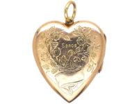 Edwardian 9ct gold Heart Shaped Locket with Flower Basket Detail