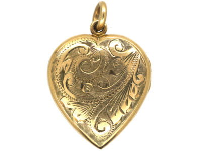 9ct Gold Heart Shaped Locket with Scroll Engraved Detail