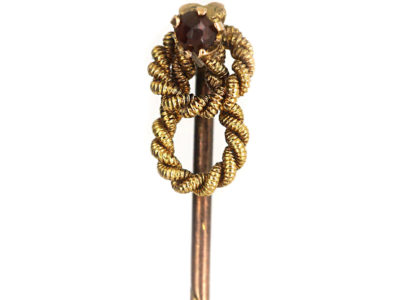 Victorian 15ct Gold Double Knot Rope Tie Pin set with a Garnet