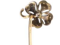 Edwardian Silver & Natural Split Pearl Shamrock Tie Pin