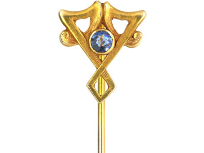 Art Nouveau 14ct Gold & Sapphire Tie Pin