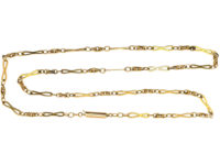 Edwardian Figure of Eight Design 9ct Gold Chain