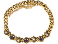Edwardian 15ct Gold Cabochon Sapphire & Natural Pearl Bracelet