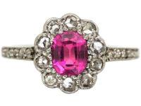 Edwardian 18ct White Gold & Platinum, Pink Sapphire & Rose Diamond Cluster Diamond Ring with Rose Diamond Shoulders
