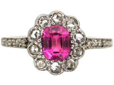 Edwardian 18ct White Gold & Platinum, Pink Sapphire & Rose Diamond Cluster Diamond Ring with Rose Diamond Shoulders