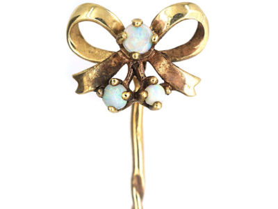 9ct Gold & Opal Bow Tie Pin