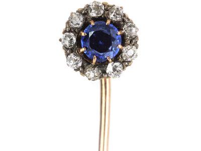 Edwardian Sapphire & Diamond Cluster Tie Pin
