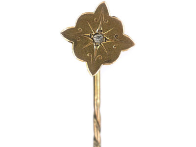 Victorian 15ct Gold & Rose Diamond Shaped Edge Tie Pin