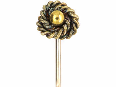 Victorian 15ct Gold Rope & Bobble Tie Pin