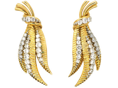 18ct Gold & Diamond Leaf Earrings
