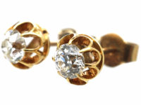 Edwardian 18ct Gold Diamond Solitaire Earrings