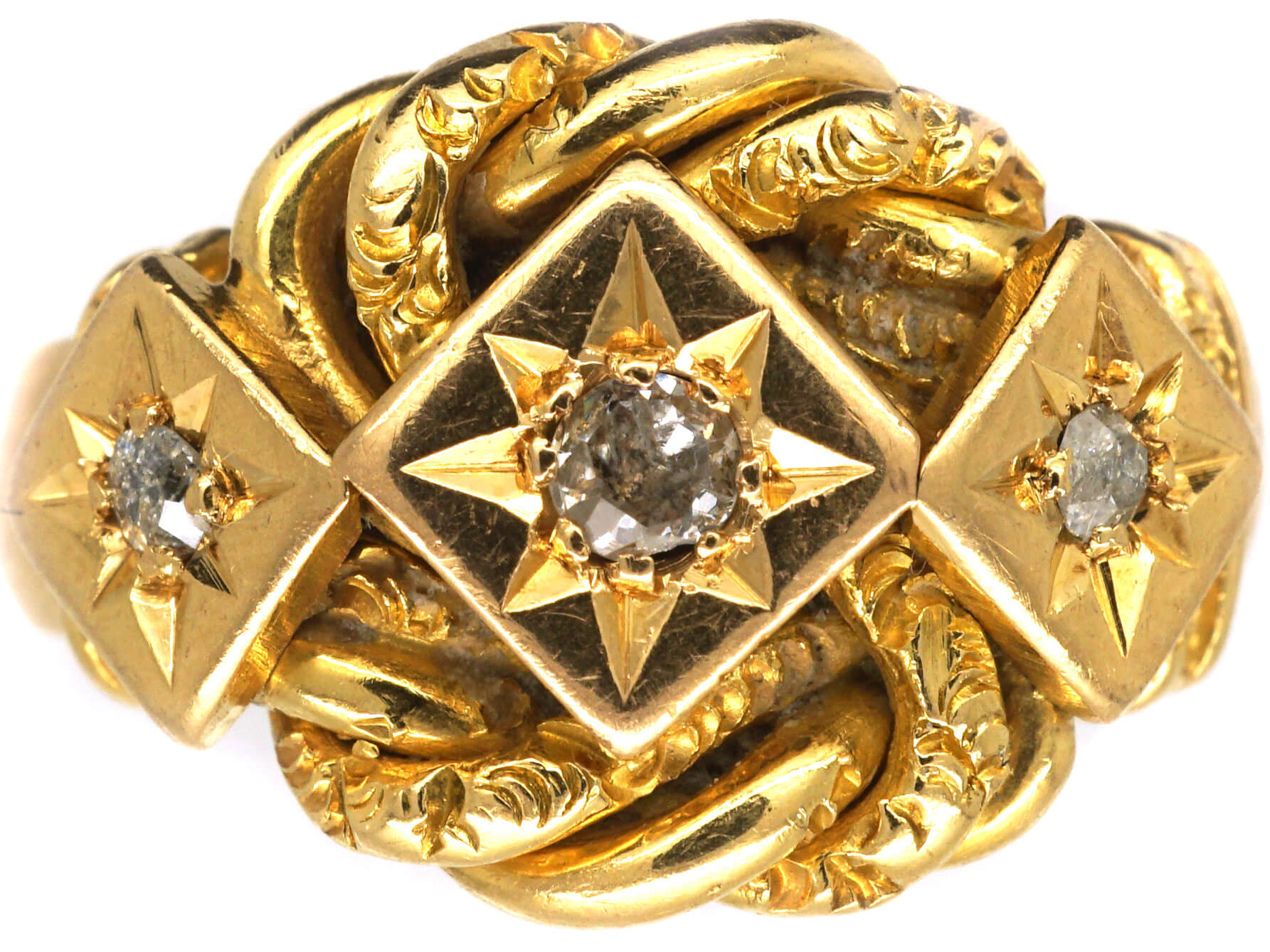 Edwardian 18ct Gold Lover's Knot Ring set with Three Diamonds