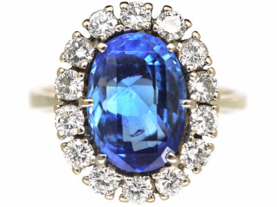 14ct White Gold Large Natural Ceylon Sapphire & Diamond Cluster Ring