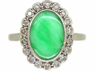 Art Deco 18ct Gold & Platinum, Jade & Diamond Oval Cluster Ring