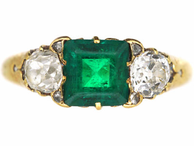 Victorian 18ct Gold Emerald & Diamond Three Stone Ring