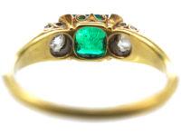Victorian 18ct Gold Emerald & Diamond Three Stone Ring