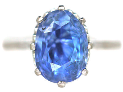 Art Deco 18ct White Gold & Ceylon Sapphire Ring