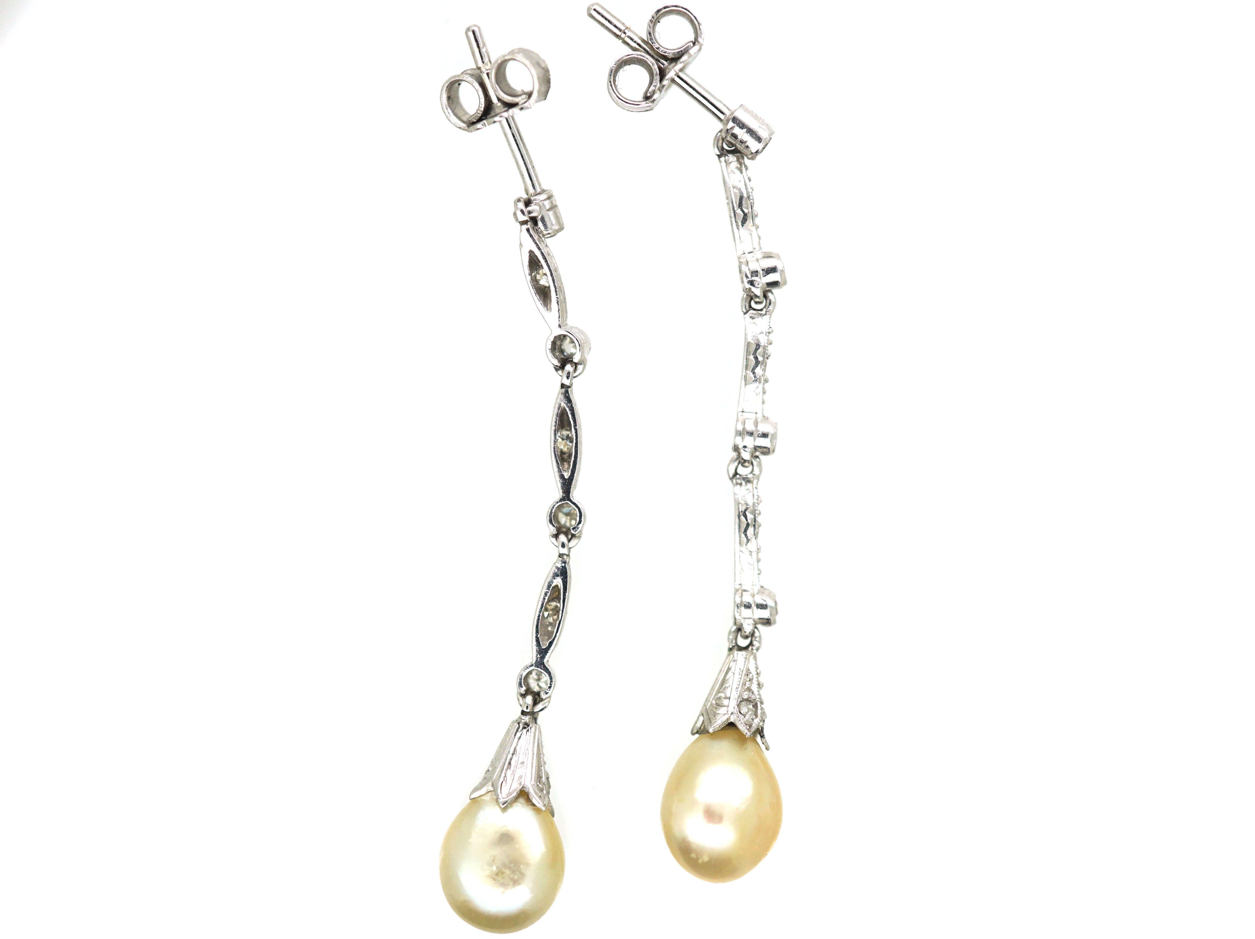 Art Deco Platinum, Natural Saltwater Pearl & Diamond Drop Earrings