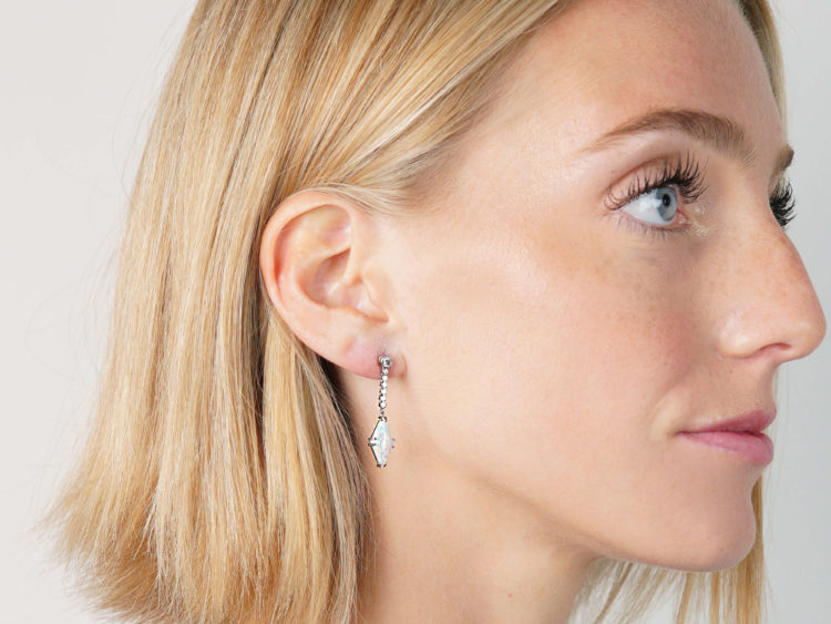 Art Deco Platinum, Opal & Diamond Drop Earrings