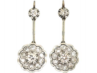 Art Deco 14ct White & Yellow Gold & Diamond Drop Cluster Earrings