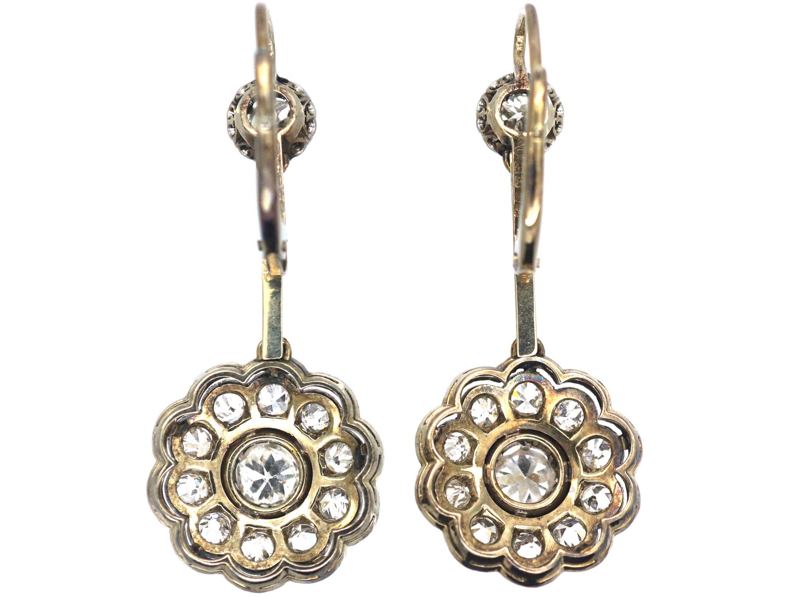 Art Deco 14ct White & Yellow Gold & Diamond Drop Cluster Earrings