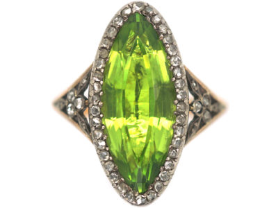 French Belle Epoque 18ct Gold, Peridot & Rose Diamond Marquise Ring