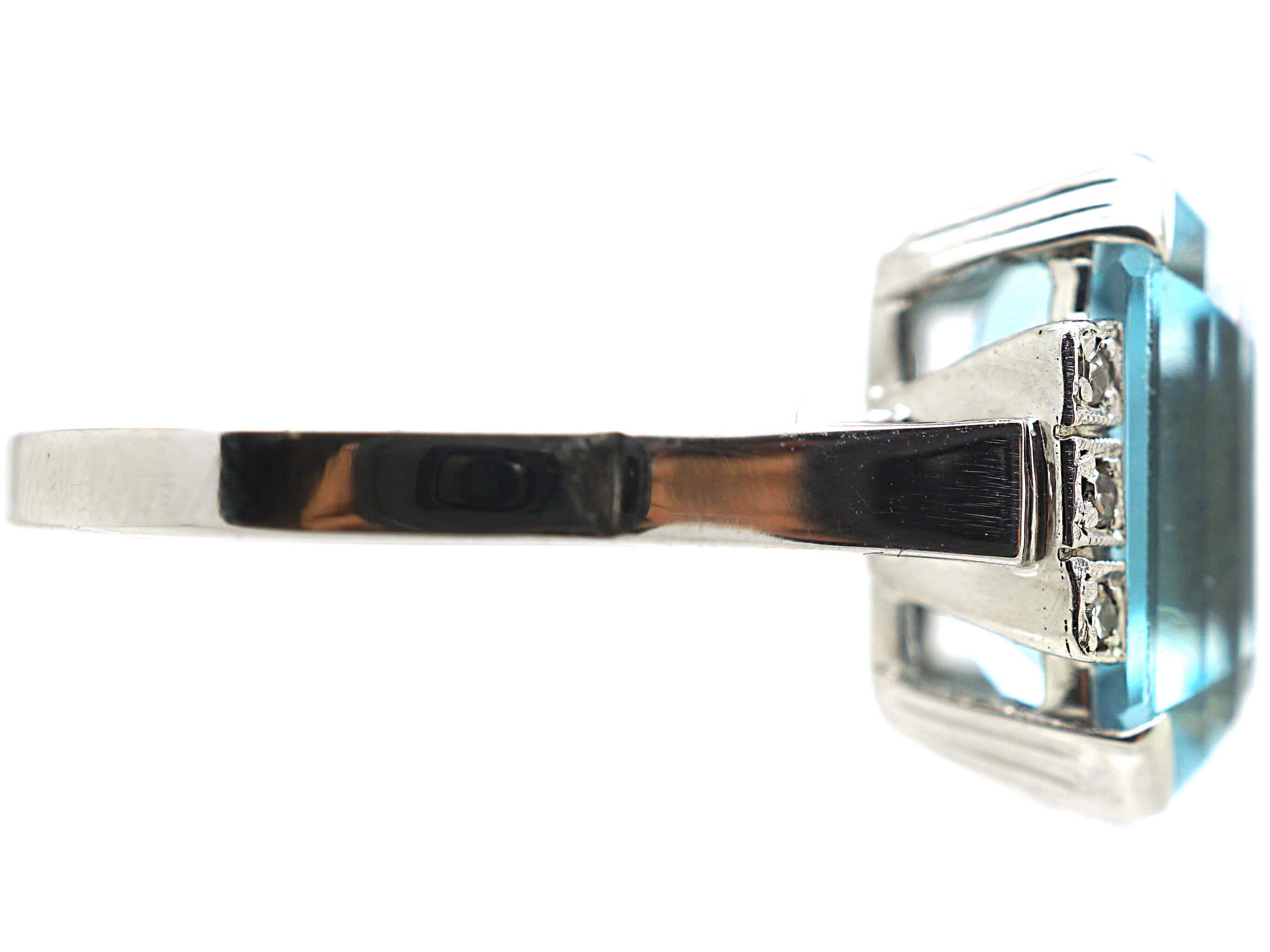 Art Deco 14ct White Gold, Aquamarine & Diamond Ring