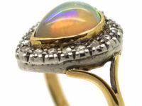 Edwardian 18ct Gold, Diamond & Opal Heart Shaped Ring