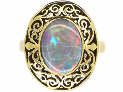 Art Nouveau 18ct Gold & Opal Ring