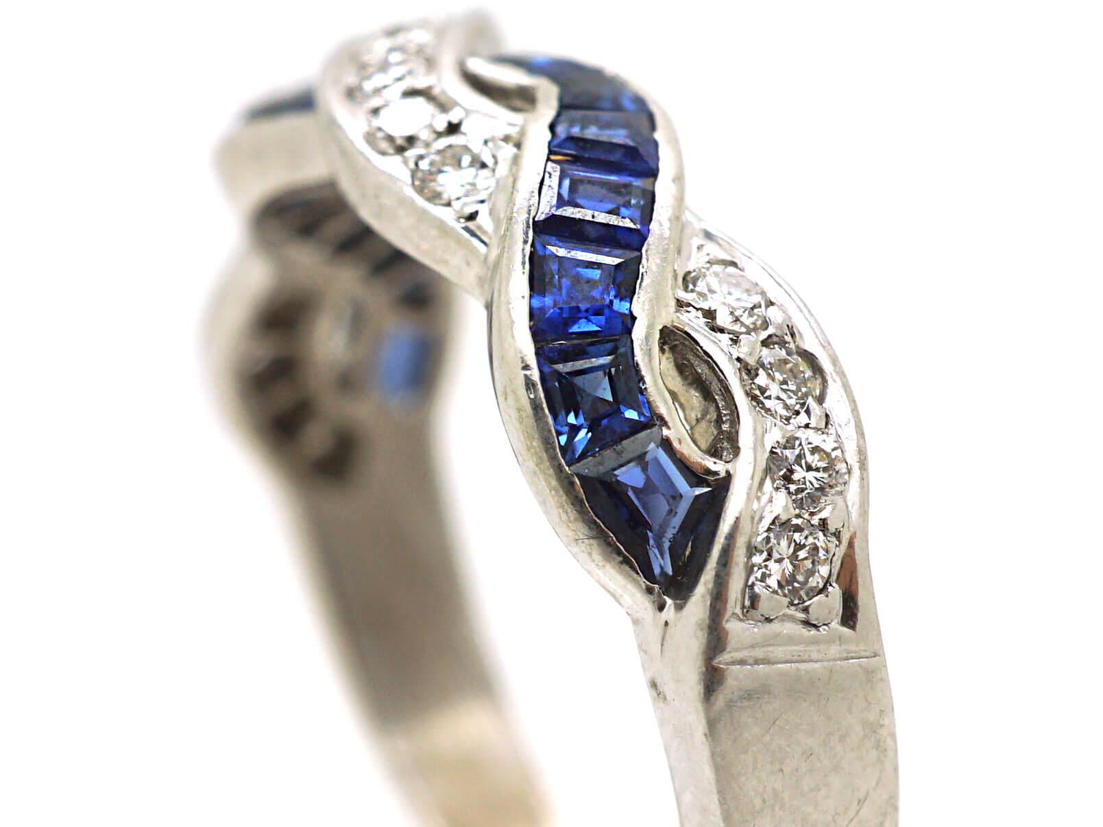 Art Deco 18ct White Gold, Sapphire & Diamond Interwoven Ribbon Design Ring