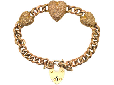 Edwardian 9ct Rose Gold Three Hearts Curb Bracelet with Locket