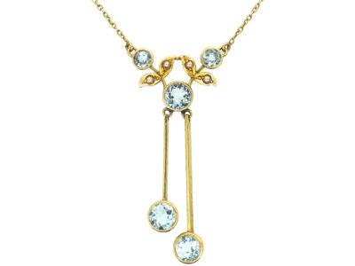 Edwardian 15ct Gold Double Drop Aquamarine & Natural Split Pearl Necklace