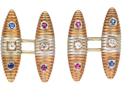 Art Deco 15ct Gold, Platinum, Diamond Sapphire & Ruby Torpedo Shaped Cufflinks
