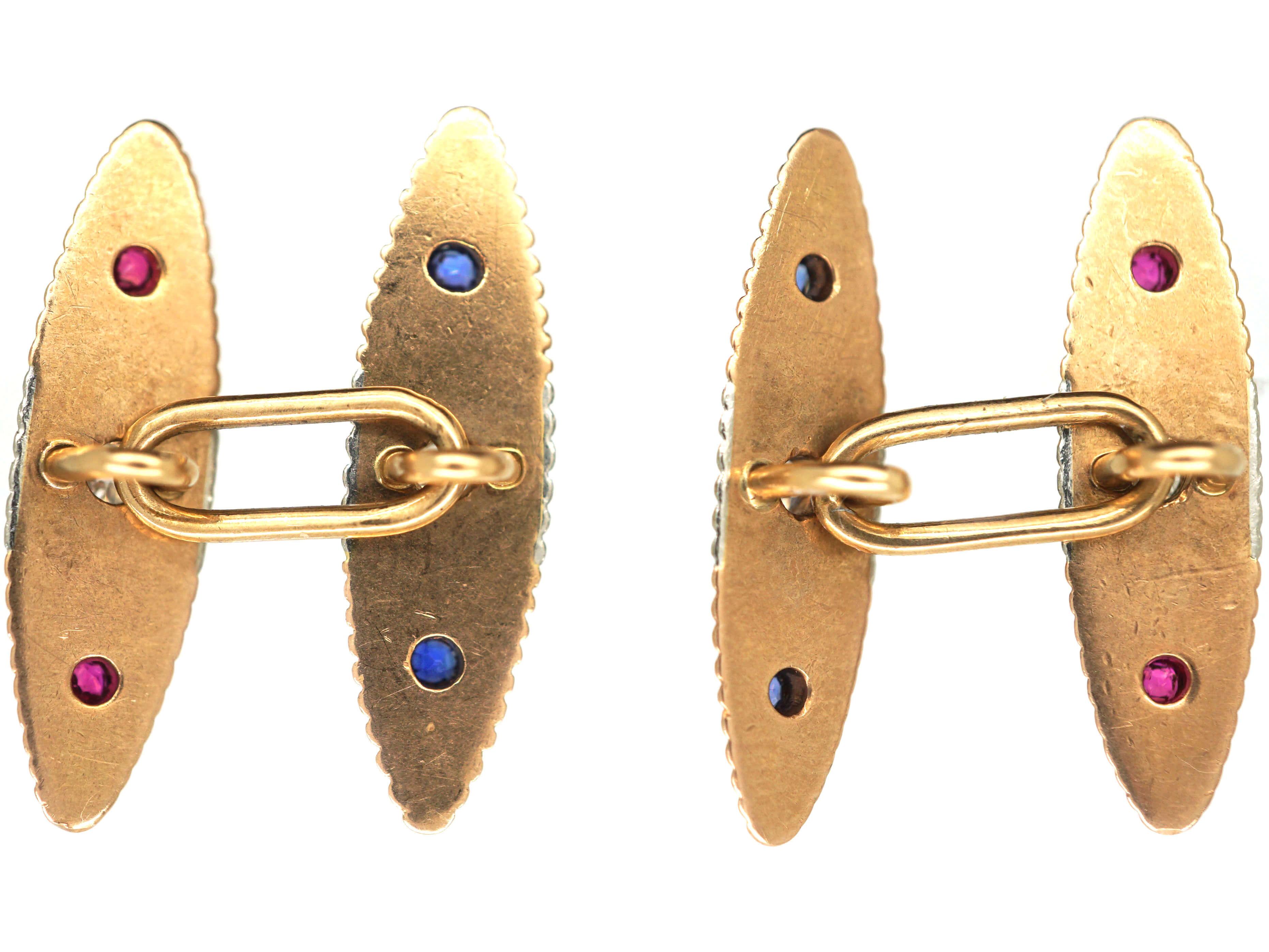 Art Deco 15ct Gold, Platinum, Diamond Sapphire & Ruby Torpedo Shaped Cufflinks