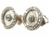 Art Deco Platinum & Rose Diamond Round Earrings with a Diamond in the Centre