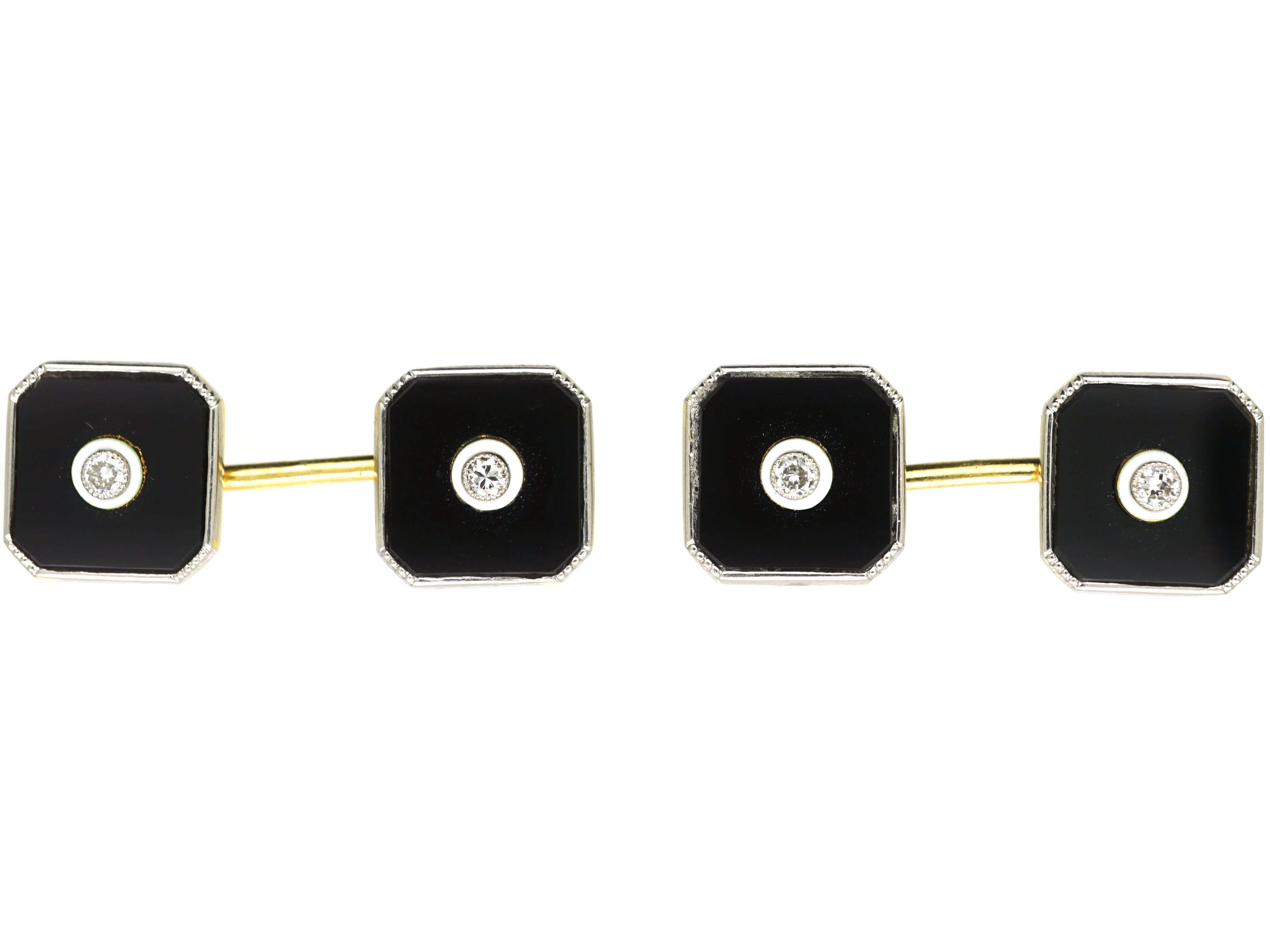Art Deco 18ct Gold & Platinum, Onyx & Diamond Cufflinks