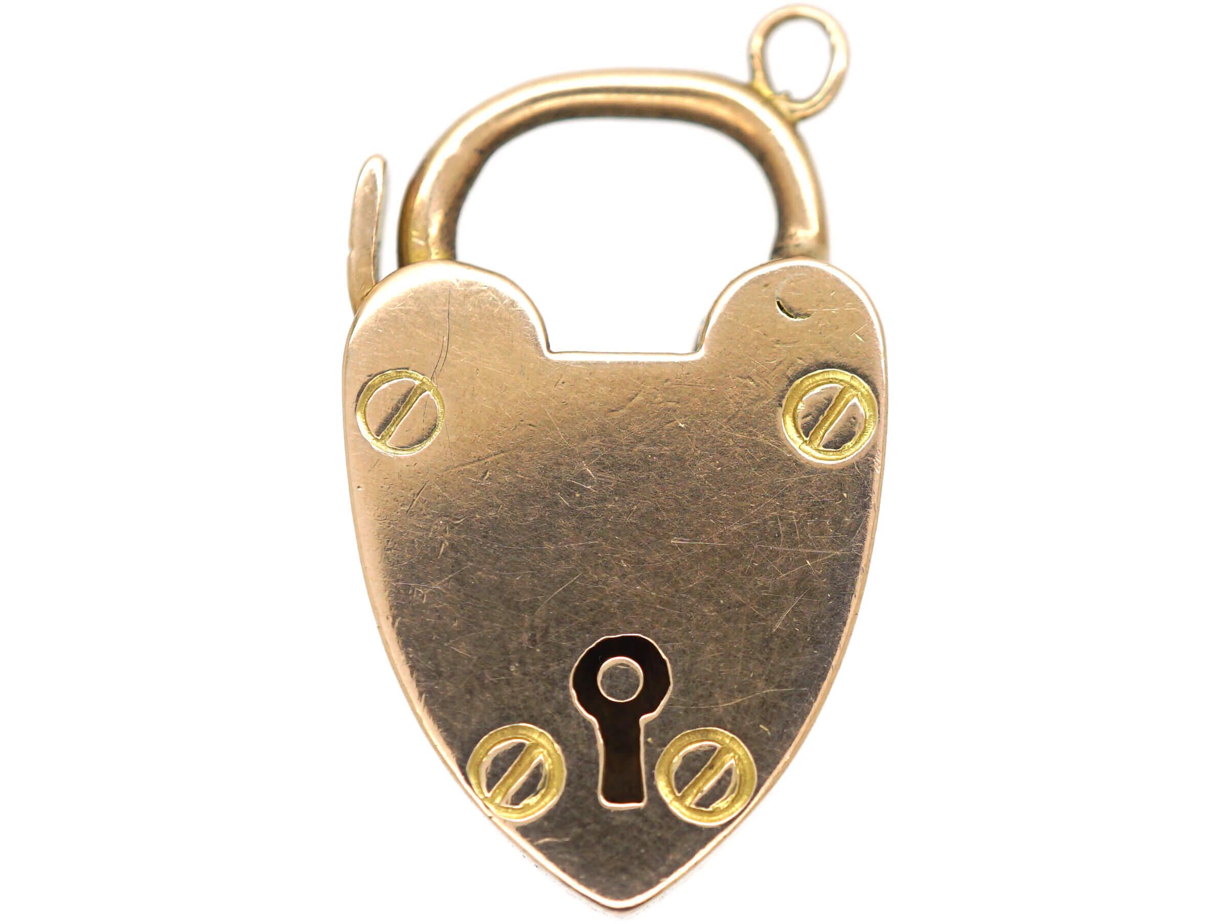 Edwardian 9ct Rose Gold Heart Shaped Padlock with Keyhole  Detail