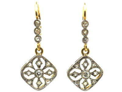Edwardian 14ct Gold & Platinum Diamond Drop Earrings