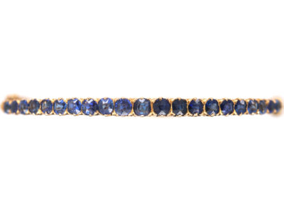 Edwardian 18ct Gold & Sapphire Narrow Bangle