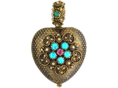 Georgian 15ct Gold Heart Shaped Forget me Not Locket